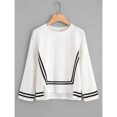 SheIn(sheinside) Cut Out Hem Contrast Stripe Blouse (€13) ❤ liked on Polyvore featuring tops, blouses, white, striped blouse, white long sleeve blouse, long sleeve tops, striped top and cut out sleeve blouse
