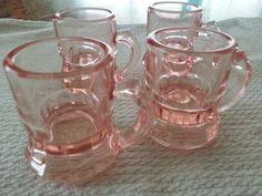 Vintage pink mini root beer mug shot glasses handles by likesteel