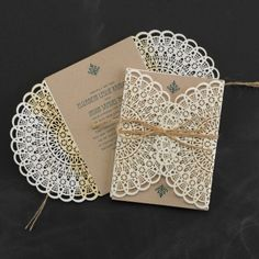 This #Country Lace - #Wedding #Invitations are a chic and elegant version. The die cut paper to look like a lace doilies is exquisite.  | Bloomed to Last