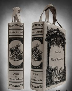 "Grey BOOK bag ""Alice in Wonderland"" gothic lolita handbag"