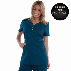 """Longer top from Koi in Caribbean, 26"""" length (size S) 55% cotton/45% polyester soft twill top, Two functioning snap buttons and deep pockets XS-3X, £27.50  #dental #uniforms #nurse #female #scrubs #tunics #top #healthcare #koi #Justine #happythreads"""