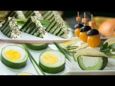 Interesting and tasty snacks with cucumber Canapes Recipes, Appetizer Recipes, Banana Sushi, Brunch, Party Buffet, Food Decoration, Appetisers, Avocado Egg, Party Snacks