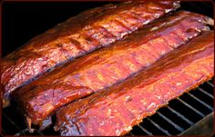 """The 3-2-1 method of barbecuing ribs—3 hours of smoke, 2 hours wrapped tightly in foil, and 1 hour sauced—has become very popular among competition barbecuers and home cooks alike, especially those who prefer their ribs """"fall-off-the-bone"""" tender. Adjust the cooking time if you like your ribs with more chew. From Treager"""