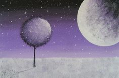 Moonlight Snowfall in Lavender  Original by VioletHouseCrafts, $20.00