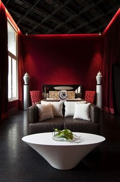 """""""Red and grey is a cool color scheme, elegant and bright. This is an awesome combination for home décor. You can choose many different shades of red and grey and various styles like mid-century modern, retro, minimalist or glam."""" Read more: http://www.digsdigs.com/39-cool-red-and-grey-home-decor-ideas/#ixzz2rL3XfamS"""
