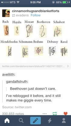 "The message here is ""don't worry. The greats couldn't draw a treble clef either"""