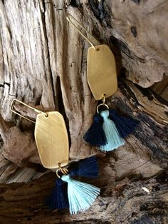 Excited to share the latest addition to my #etsy shop: Earrings brass tassel navy blue Bohemian wedding earrings Geometric jewelry Gold brass earrings Blue fringes earrings Boho chic jewelry