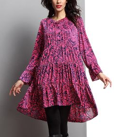 Look what I found on #zulily! Navy & Fuchsia Floral Leaf Tiered Notch Neck Tunic by Reborn Collection #zulilyfinds