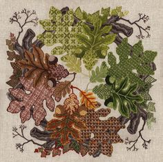 Talliaferro crewel embroidery - love the textures in the fillings and the autumn theme...