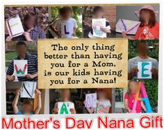 """""""We love nana"""" wooden Wall art ordered on Shutterfly...all ten grandchildren in one piece...worked out great! The grand kids are from four different families from three different states and they all created their own letters!"""
