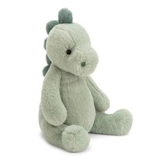 Introducing the 'Puffles Dino' by Jellycat the London based soft toy company. Coming with a super soft sage green fur body, contrasting darker green platelets down his back, but don't worry - they're supersoft! Baby Stuffed Animals, Dinosaur Stuffed Animal, Cute Little Baby, Little Babies, Baby Dino, Jellycat, Plushies, Baby Toys, Cuddling