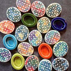 Porcelain shadowbox beads featuring watercolor glaze technique. | by RoundRabbit