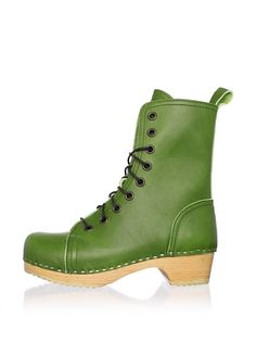 Swedish Hasbeens Women's Lace-Up Low Ankle Boot ...these are awesome, and the color makes me happy. if only i had the green to purchase these happy green boots.