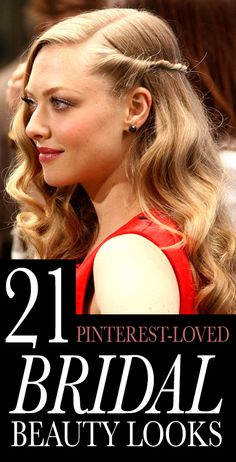 Allure Magazine's 21 Most-Pinned Bridal Looks: You've picked your venue and nailed down the guest list, and now it's time for the important part: your wedding hair and makeup. Ahead, we've gathered 21 of the most-pinned bridal beauty looks, including Amanda Seyfried's romantic curled, side twist hairstyle. Now, if only you could find a bridesmaid's dress that everyone could agree on... | allure.com