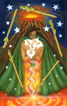 The Star Tarot - Cathy McClelland - This is a deck in progress. The Majors have been completed and the Minors are in process. One of the most exciting and beautiful decks I have seen. This is the Five of Wands.