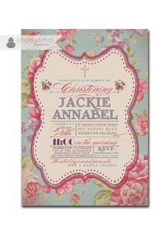 Baptism Invitation Vintage Rose Classic Christening Invite Baby Girl Typography Christian Cross DIY Digital or Printed - Jackie Collection. $23.00, via Etsy.