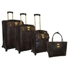 "Four piece luggage set with a push button locking telescoping handle system and gusseted front.  Product: Small, medium, large suitcase and travel toteConstruction Material: PolyurethaneColor: BlackFeatures:  Push button locking telescopic handle systemEVA expandable designZippered gusseted front pocketHeavy duty signature zipper pullsTravel tote can hold laptopDimensions: Small: 21"" H x 14"" W x 9"" D  Medium: 25"" H x 16"" W x 10"" D  Large: 29"" x 18"" W x 11"" DTravel Tote: 15"" H x 18"" W x 5"" D"