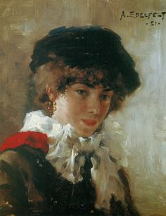 Albert Edelfelt - Virginie with Black Hat 1881 Helene Schjerfbeck, Vincent Van Gogh, Impressionist Paintings, Art Themes, Figure Painting, Figurative Art, Love Art, Art Reference, Modern Art
