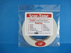 "SCOR-TAPE 1/8"" wide x 27 yards, double sided adhesive. Another great tape and a local company!"