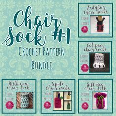 Save off individual pattern prices! Includes: Gift Bag Chair Socks Cat Paw Chair Socks Ladybug Chair Socks Apple chair Socks Milk Can Chair socks See individual patterns for complete details. Crochet Ideas, Crochet Patterns, Chair Socks, Milk Cans, Cat Paws, Custom Items, Hand Crochet, Sliders, Ladybug