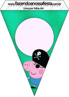 Bandeirinha Varalzinho George Pig Pirata: