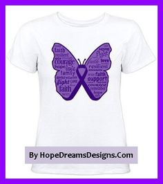 Pancreatic Cancer butterfly ribbon shirts and gifts features powerful words by hopedreamsdesigns.com
