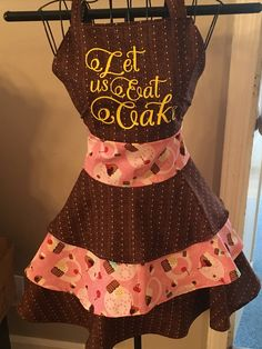 Excited to share the latest addition to my #etsy shop: Let us Eat Cake Cupcake Triple Ruffle Retro Apron #AUTISM #FUNDRAISER http://etsy.me/2DlQhMb #housewares #cooking #pastry #foodandwine #handmade #chef #bakery #cupcakes #letuseatcake #justice4autism