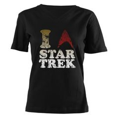 I love Star Trek Women's V-Neck Dark T-Shirt
