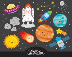 Cute Digital Clipart and DIY printable by LittleLiaGraphic on Etsy Space Party, Space Theme, Invitation Fete, Image Clipart, Clip Art, Doodles, Kawaii Art, Outer Space, Solar System