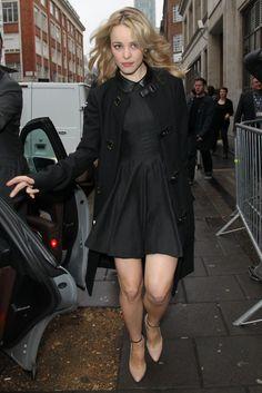 Rachel McAdams #leather peter pan #collar