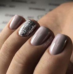 Nude/pink with shimmer shallac manicure #GlitterFashion