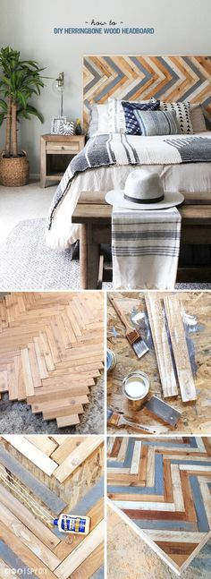 A DIY herringbone headboard is a rustic focal point in a neutral bedroom. Get the project tutorial from I Spy DIY.