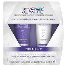 Crest 3D White Brilliance Daily Cleansing Toothpaste and Whitening Gel System…