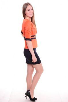 Платье А4122 Размеры: 42-56 Цвет: оранжевый + черный Цена: 750 руб.  http://optom24.ru/plate-a4122/  #одежда #женщинам #платья #оптом24