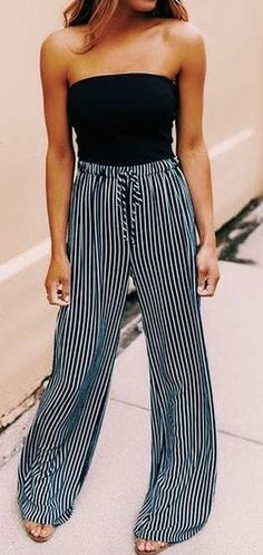 #summer #outfits / striped palazzo pants + off the shoulder top