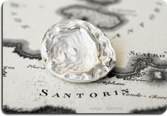 Santorini Map Sterling Silver Pendant Unisex by SunSan