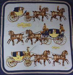 Vintage Authentic Hermes silk scarf Coach & Saddle by SLIVKISILK