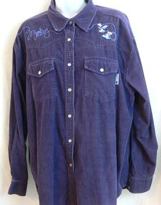 Disney Mickey Mouse Purple Shirt Sz L Pearl Snaps Corduroy Western style #Disney #ButtonFrontwestern