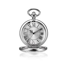 BESSERON Steampunk Skeleton Mechanical Pocket Watch with Silver Pendant Long Chain for Men & Women