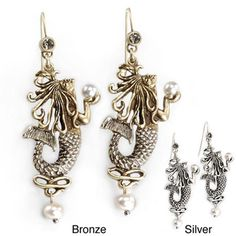 @Overstock - Display a unique combination of history, art, and fashion with these pearl mermaid earrings. Inspired by an illustration from 1895, the antiquated finish adds to their classic feel. The pair comes with a choice of silver or bronze coating.http://www.overstock.com/Jewelry-Watches/Sweet-Romance-Art-Nouveau-Mermaid-Pearl-Earrings/4232181/product.html?CID=214117 $25.92