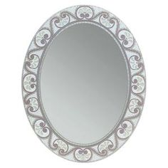 Deco Mirror 23 in. x 29 in. Earthtone Mosaic Oval Mirror-1128 at The Home Depot