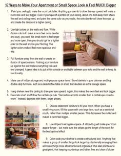 17 Ways to Make Your Apartment Look BIGGER If you have any tricks or comments - please add below or email terra@scswiderski.com. We are always looking for other tenant tips and concerns that our tenants face, that we can write about. Thank you!  Visit our FB page to read both pages! https://www.facebook.com/SCSwiderskiLLC?ref=hl