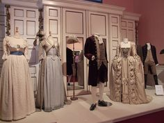 """Costumes from """"The Duchess"""". From the Left to right. Chemise a la Reine, Zone front Robe a la Anglaise, Duckes wedding attire, Georgina's   wedding gown a Robe a la Francaise"""