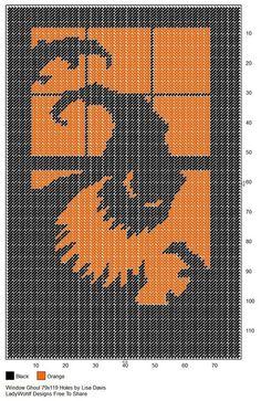 Window Ghoul by Lisa Davis Halloween Embroidery, Halloween Cross Stitches, Halloween Crochet, Plastic Canvas Christmas, Plastic Canvas Crafts, Plastic Canvas Patterns, Halloween Canvas, Halloween Bags, Cross Stitch Charts