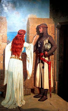 """THE SHADOW"" by Edmund Blair Leighton.  Tracing the shadow of her love to keep while he is away at war.  How to take a photograph before cameras."