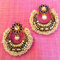 Scores OF Chandni Pearls With Kundan Charming Blue Stone Indian Earring