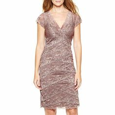 Taupe Lace Shutter-Pleat Dress - jcpenney  130/90