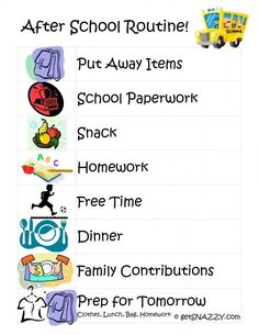 After School Routine for Kids get your life organized boot camp FREE Printable getSNAZZY