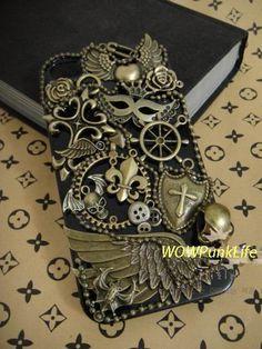 Steampunk Unique iphone 5 case, punk iphone 4/4s case. antique punk brass materials Angel wings design unique iphone Cases. $32.99, via Etsy.