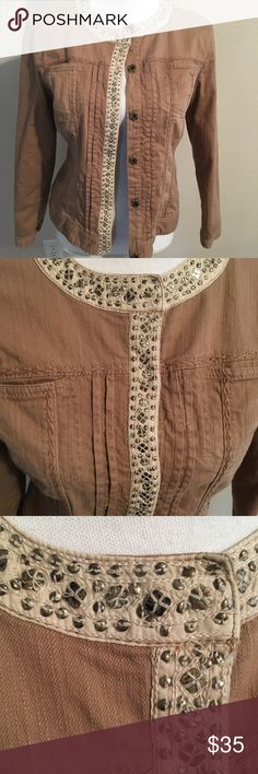 NWOT Chico's 1 8/10 embellished fall jacket Lightweight jacket cotton maybe a lightweight denim. Lots of embellishments and a beautiful lining. This is a Chico's 1 never worn no tags. Chico's Jackets & Coats